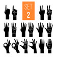 woman hands showing gesture glyph icons set vector image