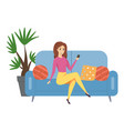 woman is sitting on couch beautiful girl with vector image