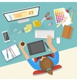 Womans Workspace Composition vector image vector image