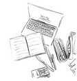 workplace with notebook workplace sketch vector image