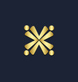 x initial circle group gold logo vector image