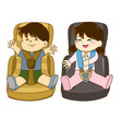 boy and girl sitting on car seat wearing seat belt vector image