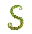 Letter S floral latin decorative character vector image