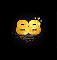 88 number icon design with golden star and glitter vector image vector image