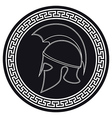 Ancient Greek Helmet with a Crest on the Shield vector image