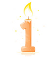 birthday candle number one isolated vector image