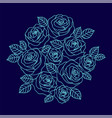 blue outline roses wreath on the dark blue vector image