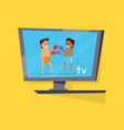 boxing people show at television monitor vector image