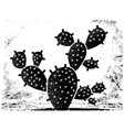 cactus black silhouette vintage cactus on old vector image vector image
