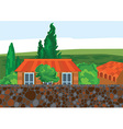 cartoon house trees and wall vector image vector image