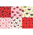 cartoon ladybug seamless pattern ladybird texture vector image vector image