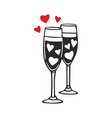 champagne glasses with hearts vector image