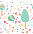 childish plants flat color seamless pattern vector image