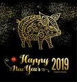 chinese new year of the pig card on firework sky vector image