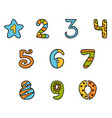 colorful set cartoon symbols numbers from zero vector image vector image