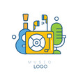creative logo template with vinyl record player vector image vector image