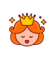 cute funny girl princess face vector image vector image