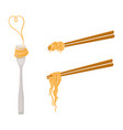 flat asian noodle on sticks fork set vector image vector image