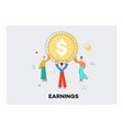 flat business man holding dollar coin vector image vector image