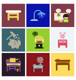 flat business office furniture icons vector image vector image