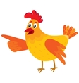 Funny cartoon chicken hen pointing to something vector image vector image