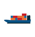 global shipping icon with container ship vector image vector image