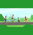 happy young family riding on bikes at park vector image