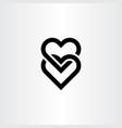 heart link black icon symbol element vector image vector image