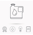 Jerrycan icon Petrol fuel can with drop sign vector image vector image