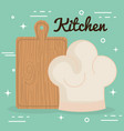kitchen cut board and hat chef utensil icon vector image
