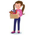 Little girl with a box of donations vector image