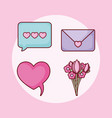 love heart email bouquet online dating set vector image