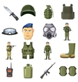 Military weapon icons set cartoon style vector image vector image