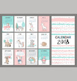 monthly creative calendar 2018 with cute animals vector image vector image