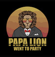 papa lion retro vector image