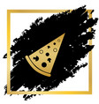 pizza simple sign golden icon at black vector image vector image