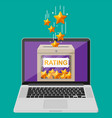 rating box on laptop screen vector image vector image