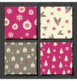 retro style christmas seamless patterns set vector image vector image