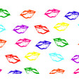 seamless pattern of colorful lips with white glare vector image