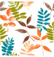 seamless pattern with leaves silhouettes vector image vector image