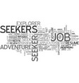 seekers word cloud concept vector image vector image