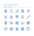 set color line icons jewelry vector image