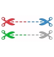 set colorful scissors with dotted lines vector image vector image