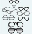 Set glasses and lips silhouettes vector image vector image