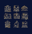 set house flat icons dark blue vector image vector image