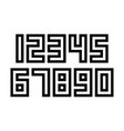 set numbers with black and white typography vector image vector image
