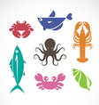 set of seafood symbols vector image vector image