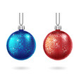 set of shiny christmas red and blue ball isolated vector image vector image