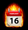 sixteenth february in calendar burning icon on vector image vector image