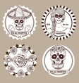 Sketch mexican dia de los muertos set of stickers vector image vector image